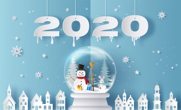 Веселого рождества и счастливого нового года 2020 с снежный шар и деревня, открытки и приглашения. Premium векторы