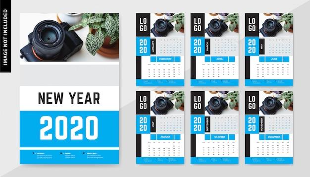 Фотография настенный календарь 2020 Premium векторы