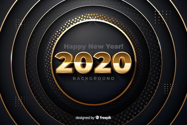 Золотой новый год 2020 на металлическом фоне Бесплатные векторы