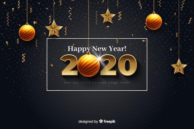 Реалистичный новый год 2020 с шарами и звездами Бесплатные векторы