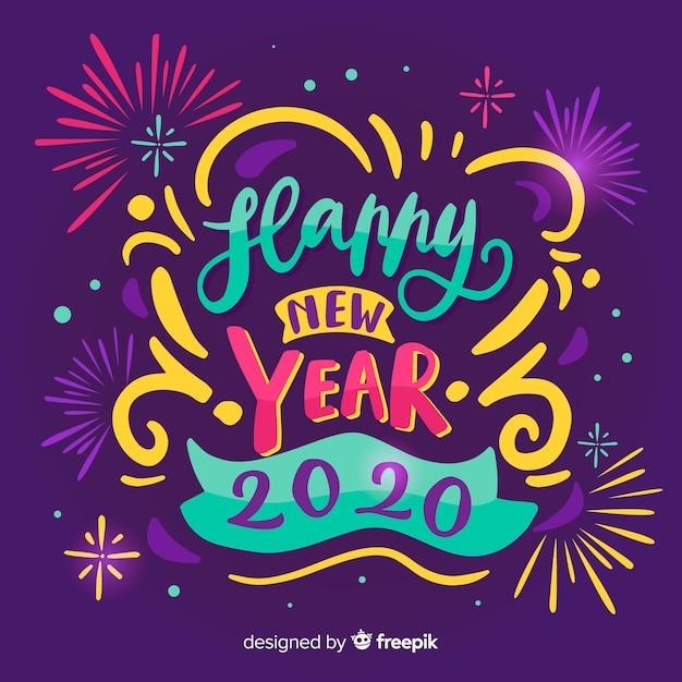 花火で新年あけましておめでとうございます2020をレタリング 無料ベクター