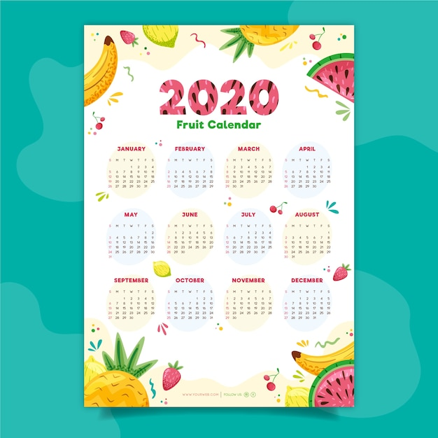 Красочный календарь 2020 Бесплатные векторы
