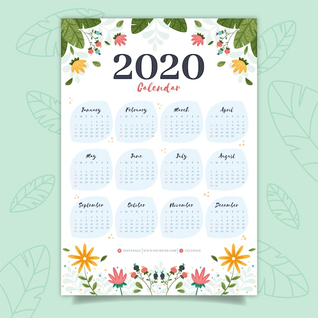 カラフルなカレンダー2020 無料ベクター