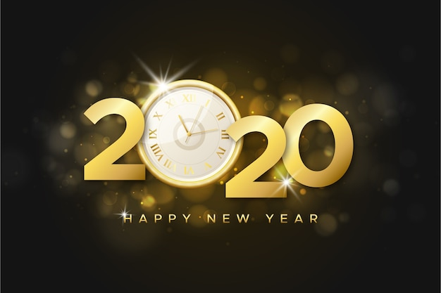 Реалистичные новогодние часы фон 2020 Бесплатные векторы