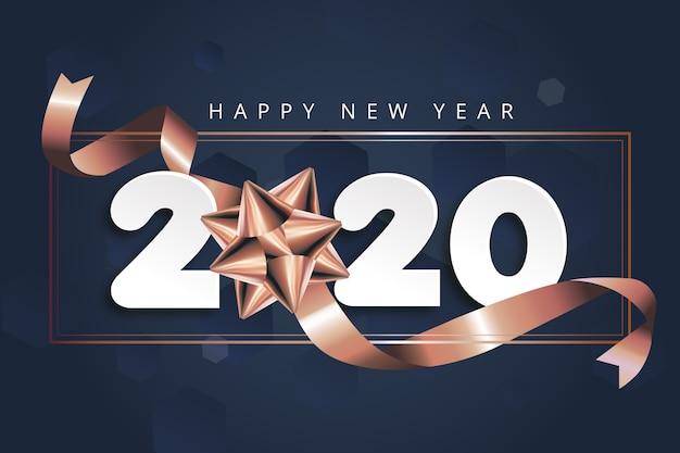 弓で新年2020年背景 無料ベクター
