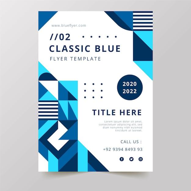 クラシックブルーパレット2020チラシテンプレート 無料ベクター