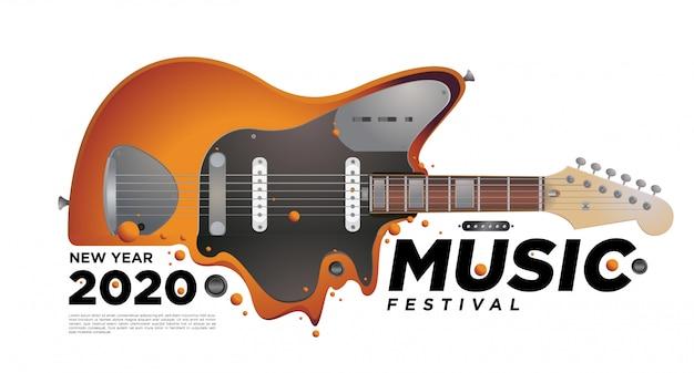 Музыкально-гитарный фестиваль иллюстрация дизайн для новогодней вечеринки 2020. Premium векторы
