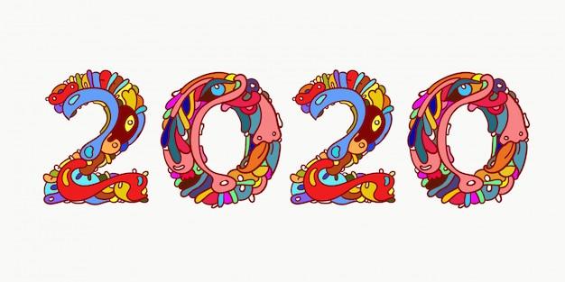 Новый год 2020 красочные каракули письмо типография Premium векторы