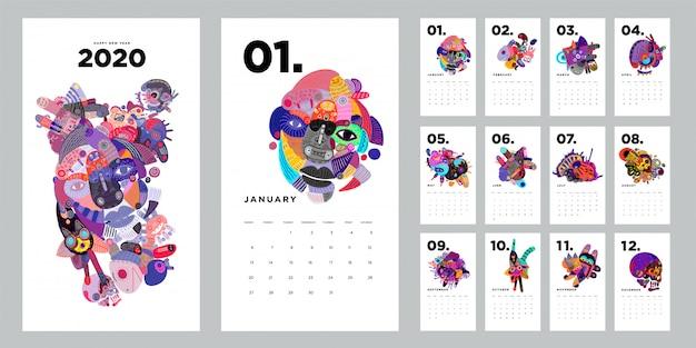 カラフルな抽象的な落書きイラスト2020カレンダーデザインテンプレート Premiumベクター