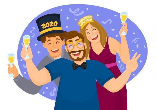 С новым годом 2020. люди празднуют вечеринку Premium векторы