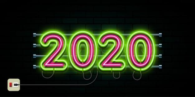 С новым годом 2020 логотип текст Premium векторы