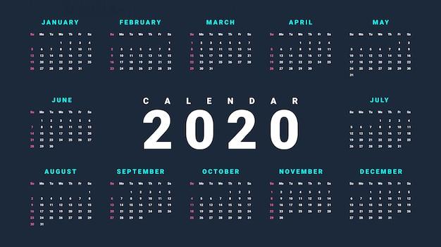 暗い背景に2020年のシンプルな壁掛けカレンダー Premiumベクター