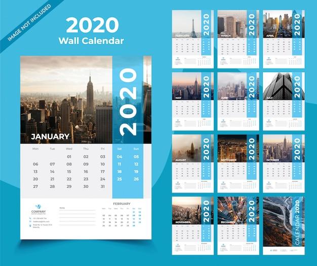Шаблон настенного календаря 2020 Premium векторы