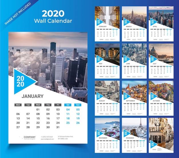 Настенный календарь на 2020 год Premium векторы
