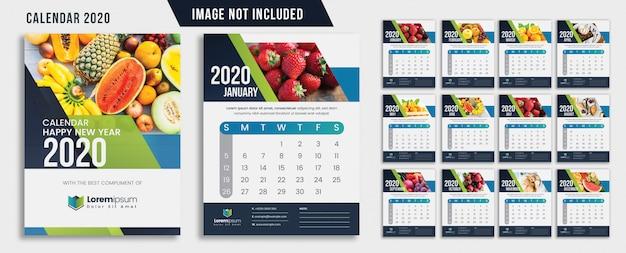 緑の抽象的な壁掛けカレンダー2020 Premiumベクター