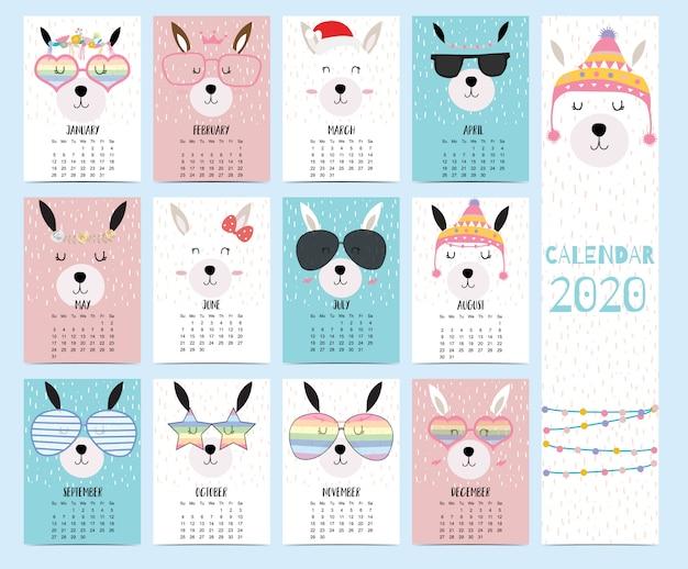 子供向けのラマ付きの動物カレンダー2020。 Premiumベクター