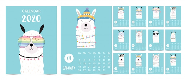 Каракули пастельный календарь набор 2020 с ламой для детей Premium векторы