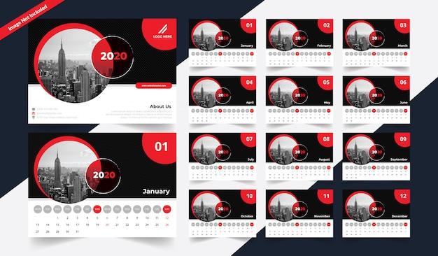 Современный настольный календарь 2020 Premium векторы