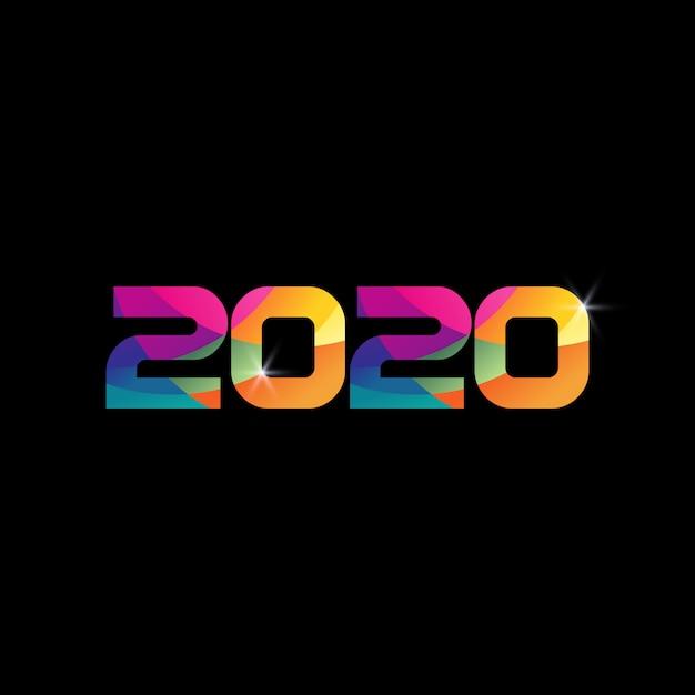 2020 номер новый год красочный цвет радуги Premium векторы