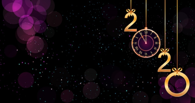 2020新年あけましておめでとうございます紫色の背景にボケ味の効果、黄金の数字、リボン弓、ヴィンテージ時計がぶら下がっています。 Premiumベクター