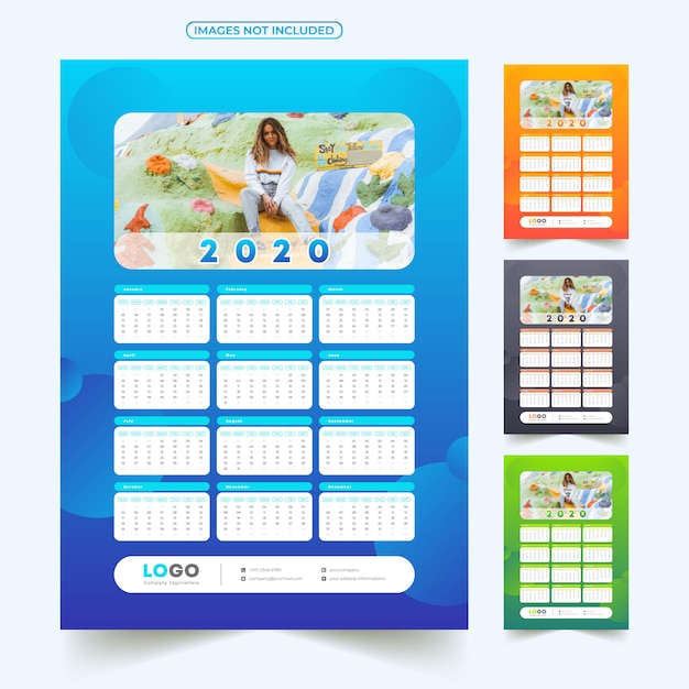 画像付き2020カレンダー Premiumベクター