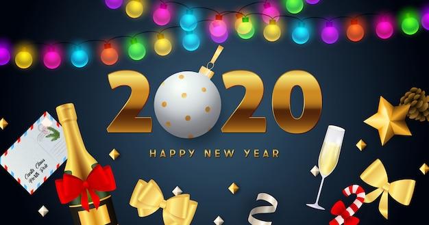 明けましておめでとう2020レタリングライト花輪、シャンパン 無料ベクター
