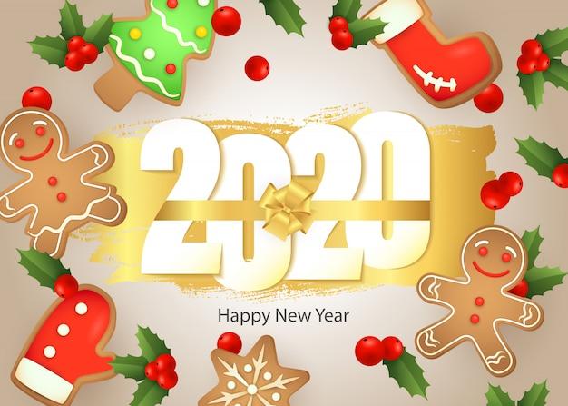 明けましておめでとう、2020年のレタリング、ジンジャーブレッドクッキー、ヤドリギ 無料ベクター