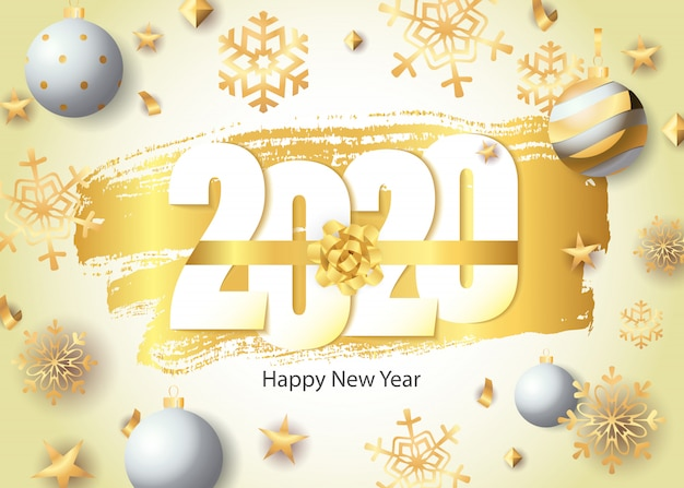 明けましておめでとう、2020年のレタリング、黄金の雪とボール 無料ベクター