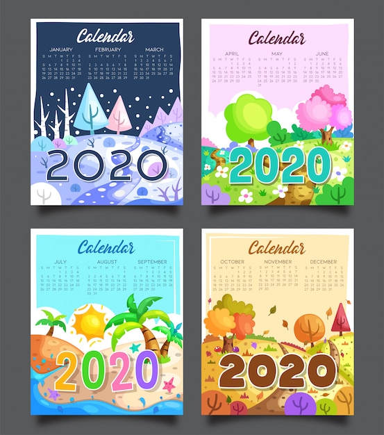 2020 календарь четыре сезона Premium векторы