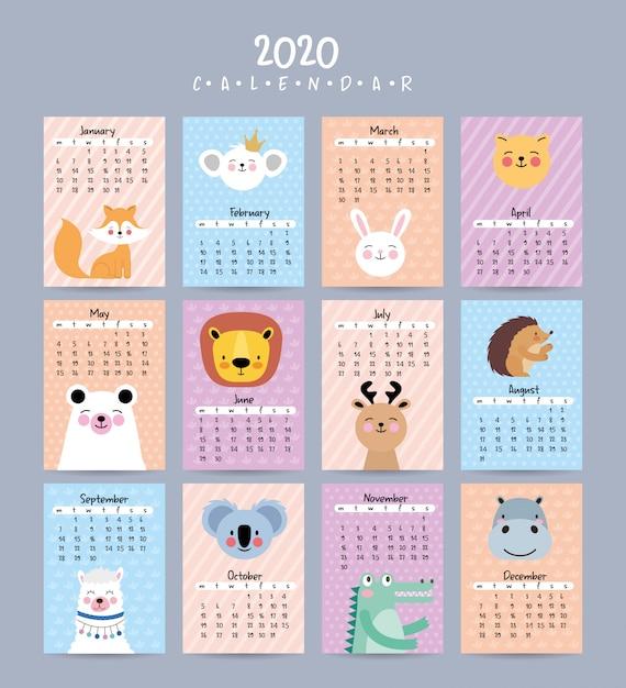 2020 календарь с милыми животными Premium векторы