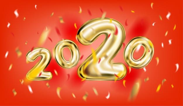 2020 новогодний постер в красном Premium векторы