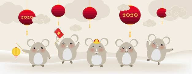 かわいい小さなネズミ、新年あけましておめでとうございますネズミ干支の2020年 Premiumベクター