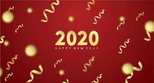 С новым годом 2020 с золотым эффектом в красном Premium векторы