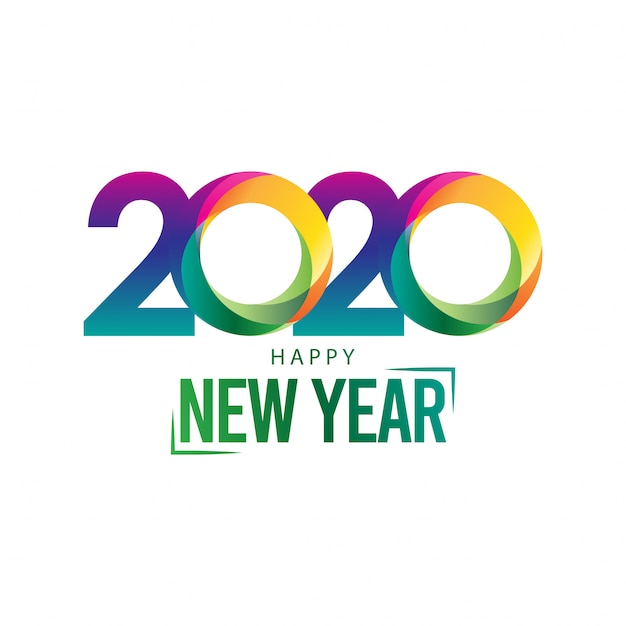 カラフルなモダンなデザインの幸せな新年2020グリーティングカード Premiumベクター