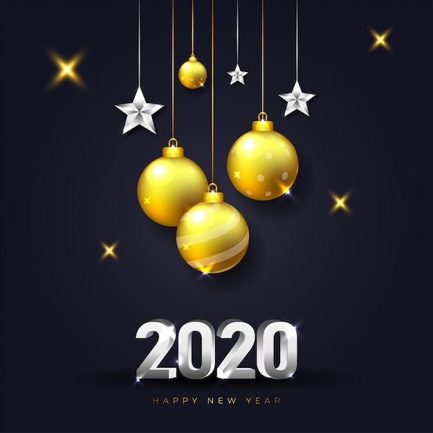 金と銀の色で暗いと現実的なクリスマスデコレーションと幸せな新年2020年グリーティングカード Premiumベクター
