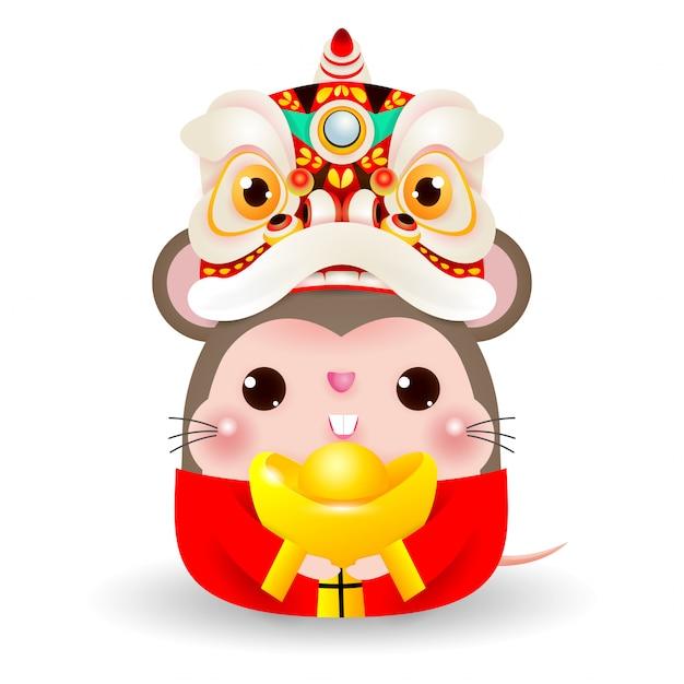 Маленькая крыса с головой танца льва, держащей китайское золото, счастливый китайский новый год 2020 года крысиного зодиака, Premium векторы