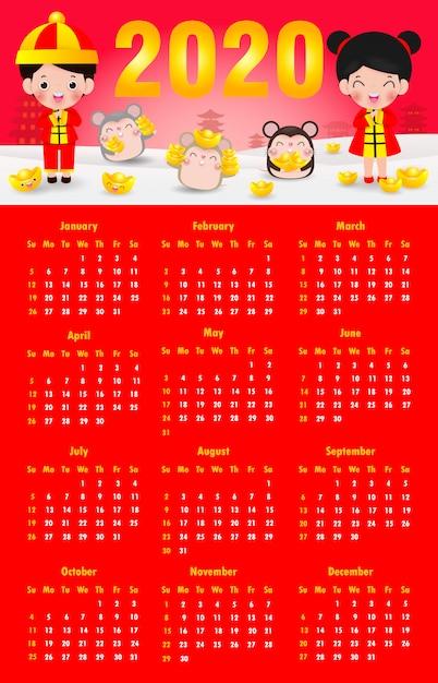 Календарь 2020. китайский новый год Premium векторы