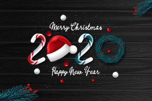 クリスマスと2020年賀状 Premiumベクター