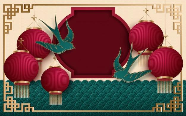 Китайский новый год 2020 традиционный красный и золотой веб-баннер Premium векторы