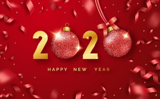 輝く数字、ボール、リボンと幸せな新年2020年背景 Premiumベクター