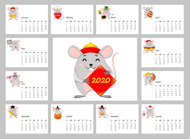 Календарь 2020 года с забавными крысами Premium векторы