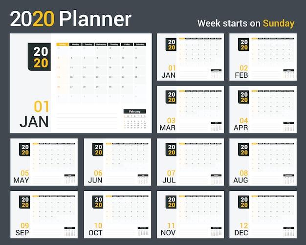 2020カレンダープランナー Premiumベクター