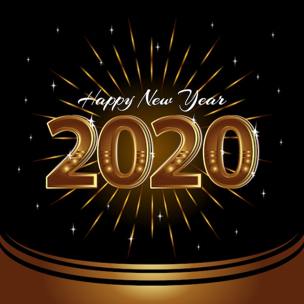 新年あけましておめでとうございます2020のベクトルの背景 Premiumベクター