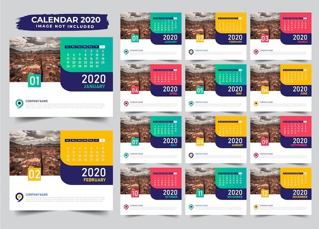 複数色の卓上カレンダーテンプレートデザイン2020 Premiumベクター