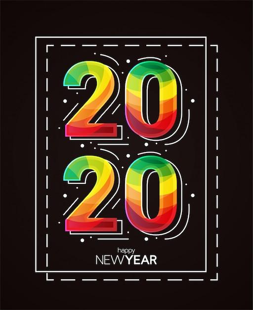 新年あけましておめでとうございます2020イラスト Premiumベクター