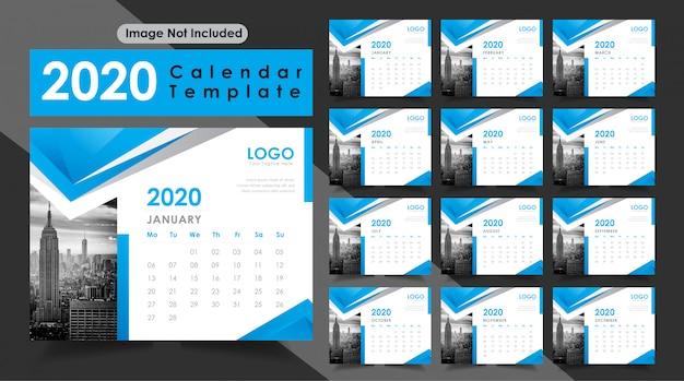 青い色の新年2020卓上カレンダー Premiumベクター