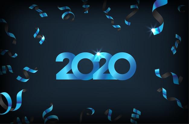 落下の紙吹雪と幸せな新年2020 Premiumベクター