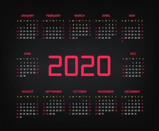 Шаблон календаря вектор 2020 год Premium векторы