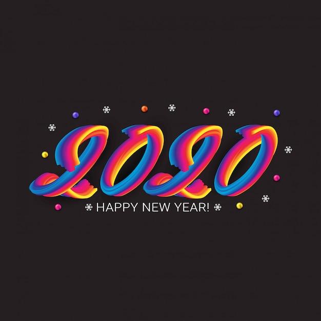 カラフルな流体番号で幸せな2020年新年のグリーティングカード Premiumベクター