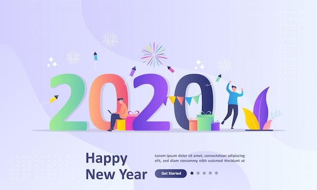 Концепция с новым годом 2020 Premium векторы